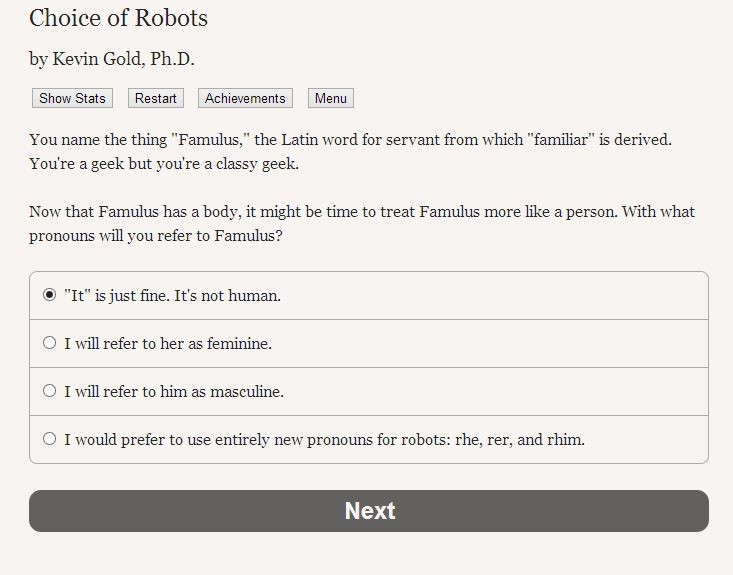 Choice of Robots II